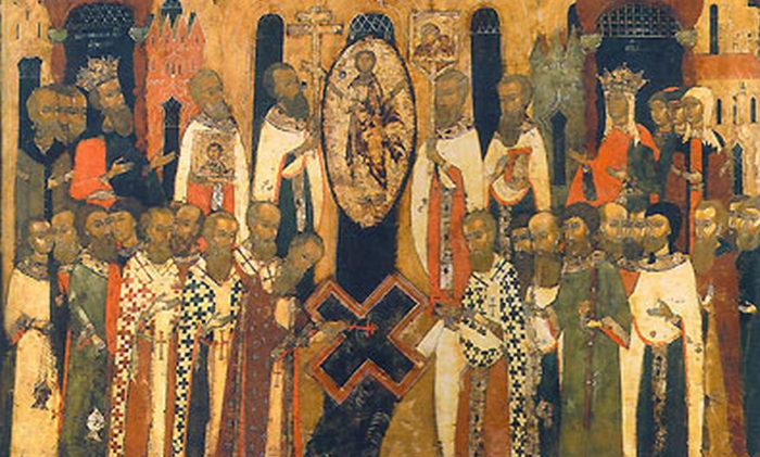 Происхождение (изнесение) Честных Древ Животворящего Креста Господня. Фрагмент иконы